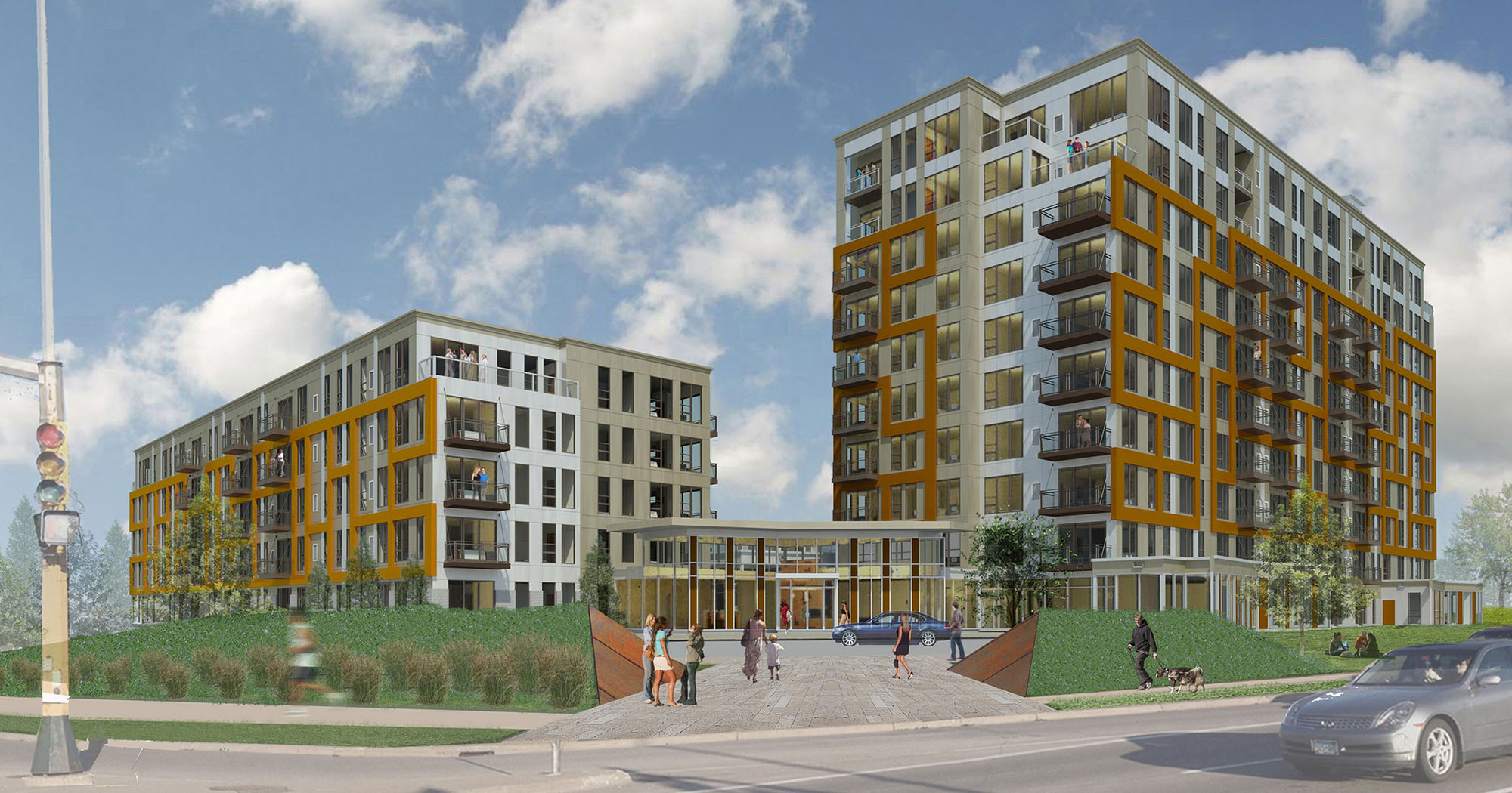 A rendering of the 232-unit development planned to be built in a Southdale parking lot.